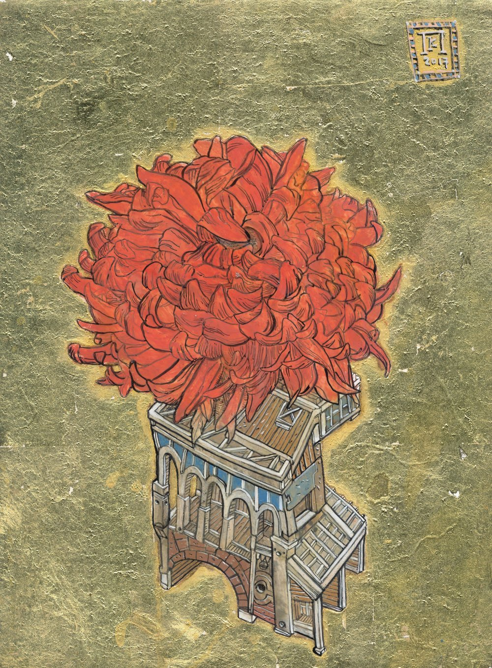 Red Chrysanthemum  - Ink, egg-tempera and gold leaf on panel - 9.5x7in / 24x18cm