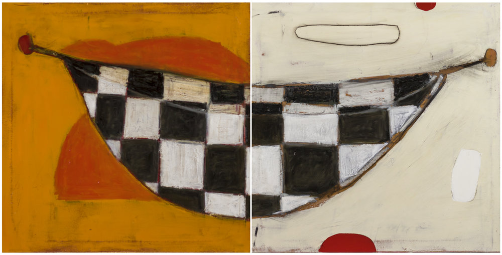 "Gumtree Canoe - dyptich  Oil and enamel on canvas - 2017 - 19.7"" x 39"" / 50 x 100 cm"