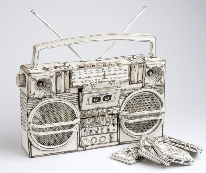 Katharine Morling  - Boombox  and 5 Cassette Tapes  - 2019 - Porcelain and Black Stain - available on commission
