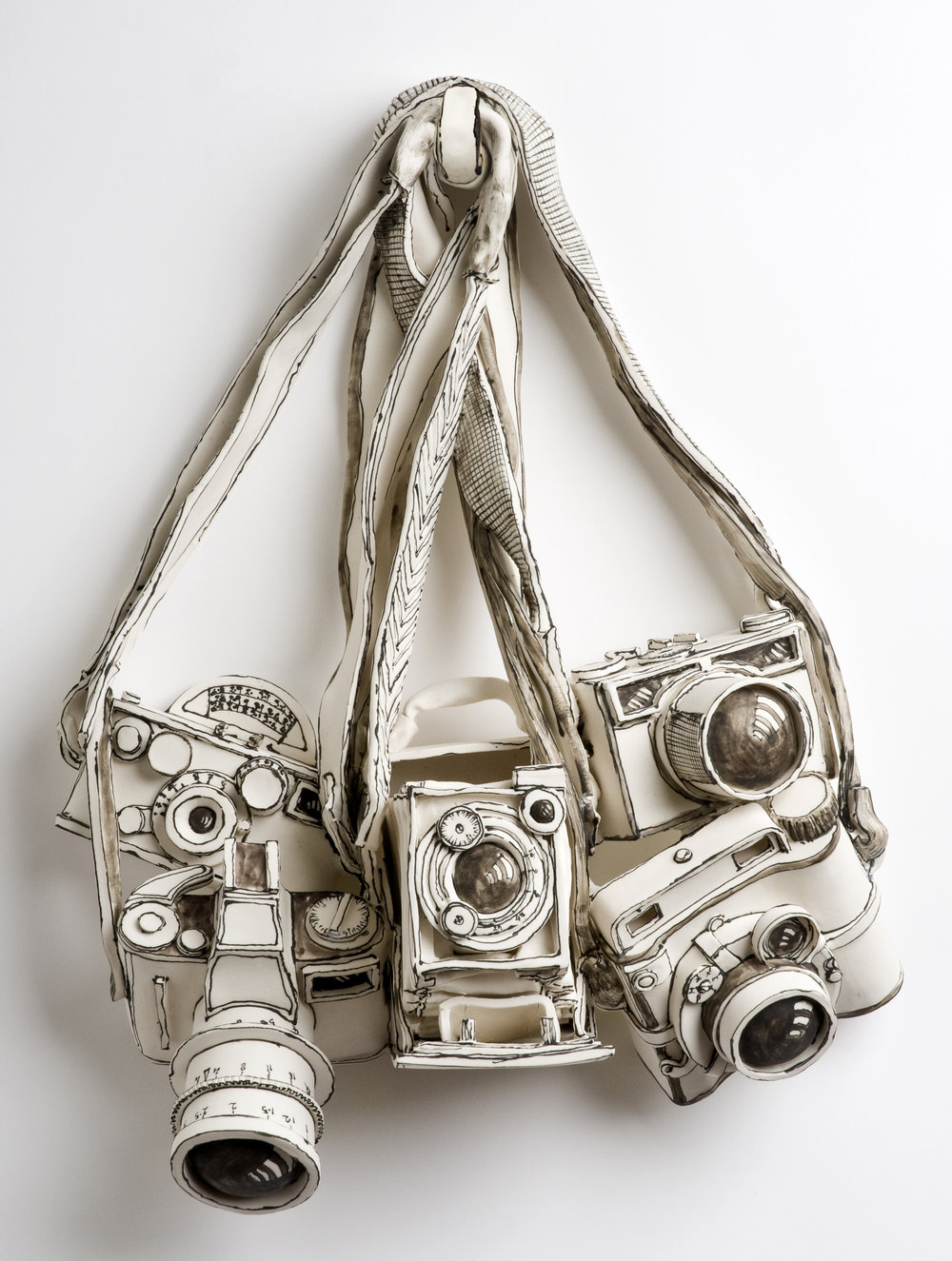 Katharine Morling  - Old Cameras  - 2019 - Porcelain and Black Stain - available on commission