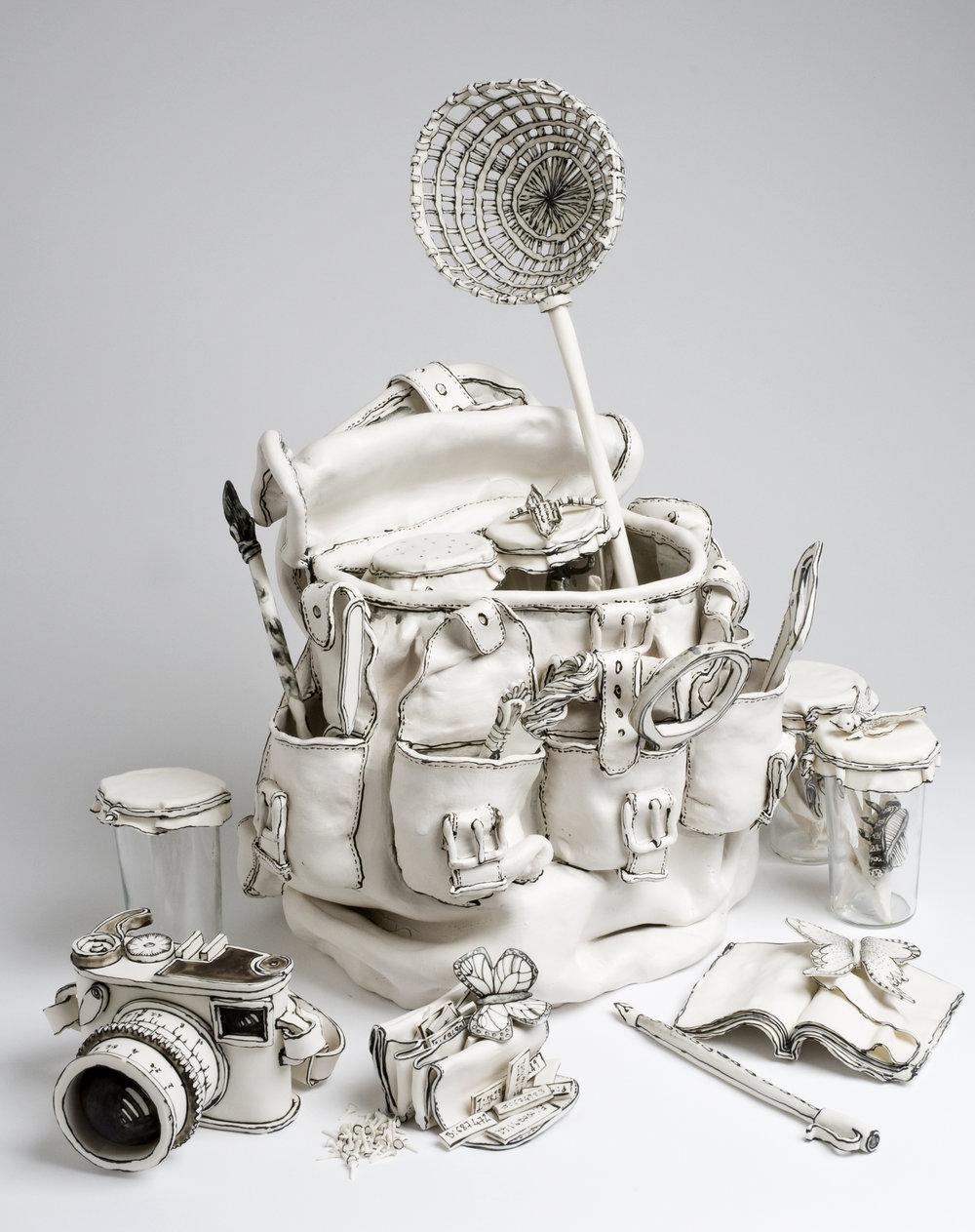 Katharine Morling  - Explorer Equipment Kit  - 2019 - Porcelain and Black Stain - available on commission