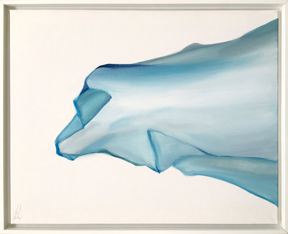 Blue Veil Study I  - 2018 - Acrylic on stretched canvas - 16 x 20 inches / 41 x 51 cm - White silhouette frame