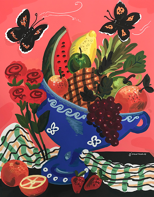 Apostolos Chantzaras -  Summer Cornucopia    - Acrylic, mixed media on paper -  Dim: 100 x 80 cm /white box frame.