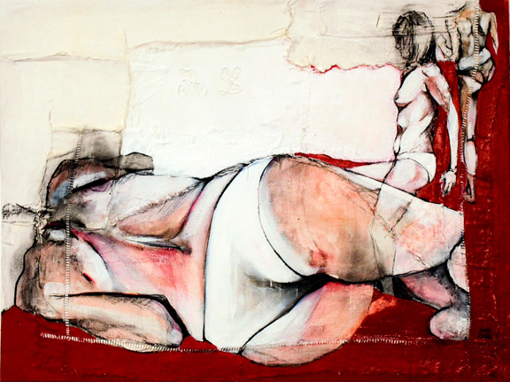 Jo V  - Fabric, sheets, stitching, charcoal, mixed media on canvas - 24 x 32 in / 60 x 80 cm