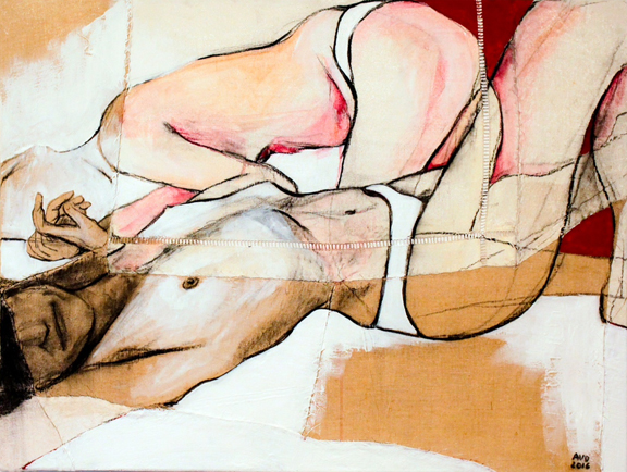 Jo IV  - Fabric, sheets, stitching, charcoal, mixed media on canvas - 24 x 32 in / 60 x 80 cm