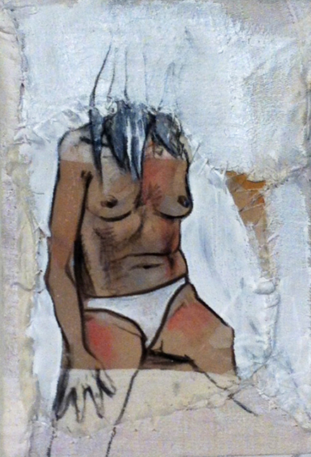 Garance Petit Format II  - Fabric, sheets, stitching, charcoal, mixed media on canvas - 8 x 6 in / 20 x 15 cm