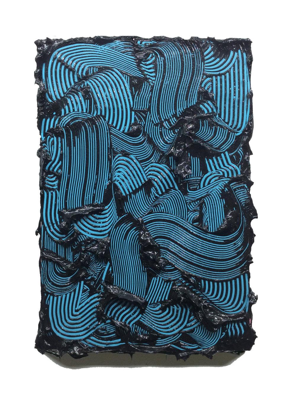 Poseidon  - 2018 - Acrylic, Gel & Vinyl on Panel - 18x12in / 46x30cm