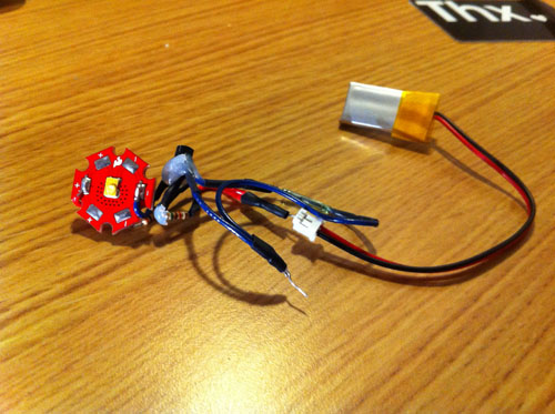 The full circuit with LED, Hall-Effect Sensor, Battery and PMU.