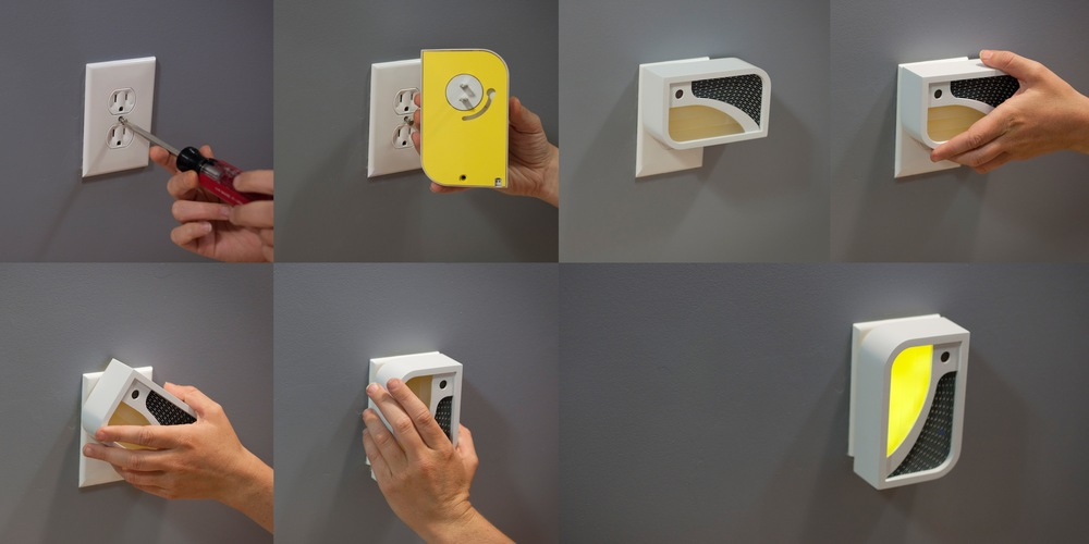 The novel installation mechanism that we created that allows simple plug-and-play use while also preventing tampering with from children or pets.