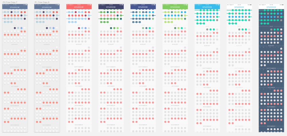 Iterations on the design for what would become the calendar view. Color and information hierarchy became very important in this view that could quickly become overwhelming for users after using it for a few weeks.