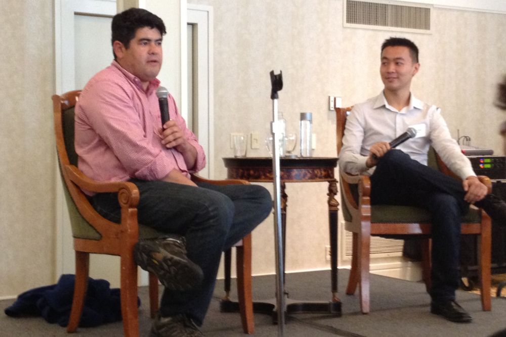 David Sze (YC'88) of Greylock Partners discussing his investments in LinkedIn and Facebook with Victor Wong (YC'11), CEO of PaperG, during a Yale Tech fireside chat.