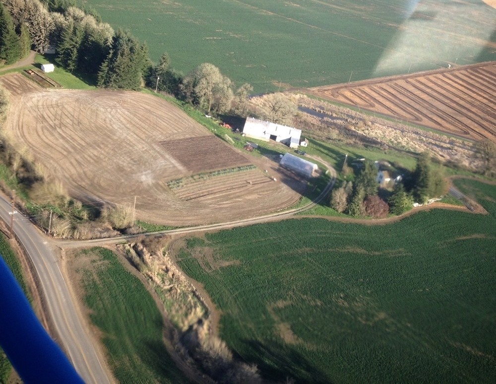 An aerial view of the farm: soon to be full of green, growing veggies & flowers!