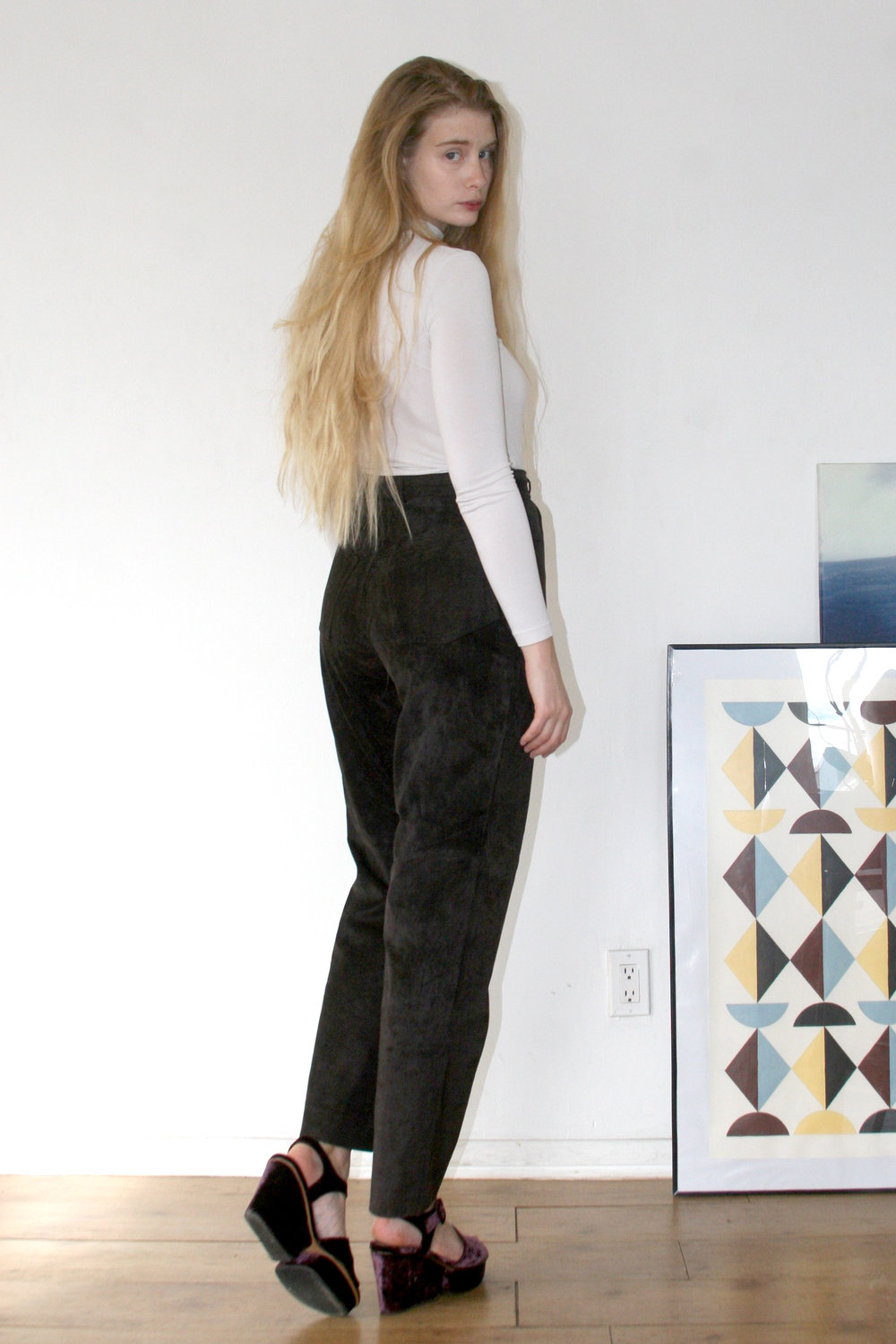 suede leather pants   $80.00