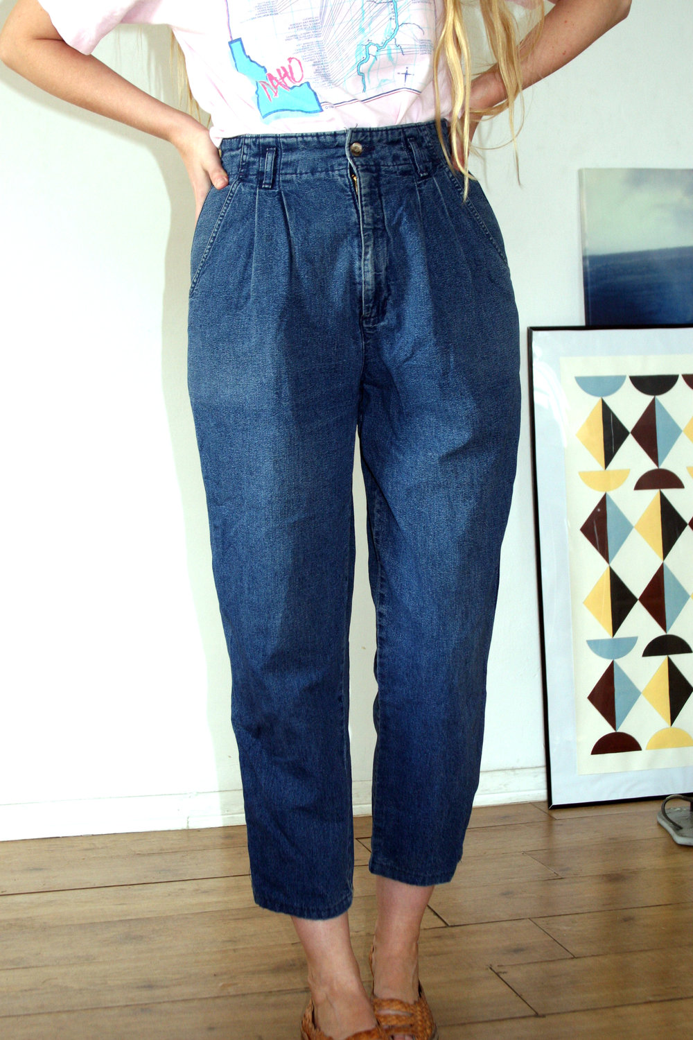 pleated jeans $50.00