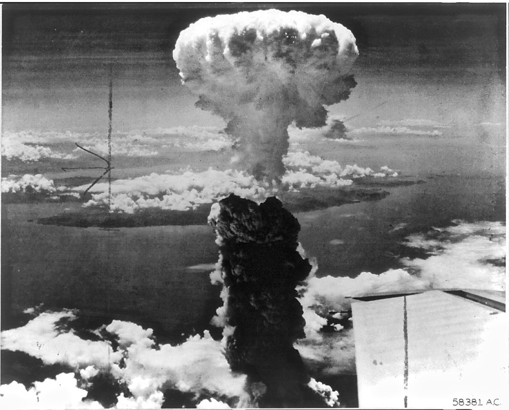 Mushroom cloud from the bombing of Nagasaki, August 9th 1945, image courtesy of the Library of Congress