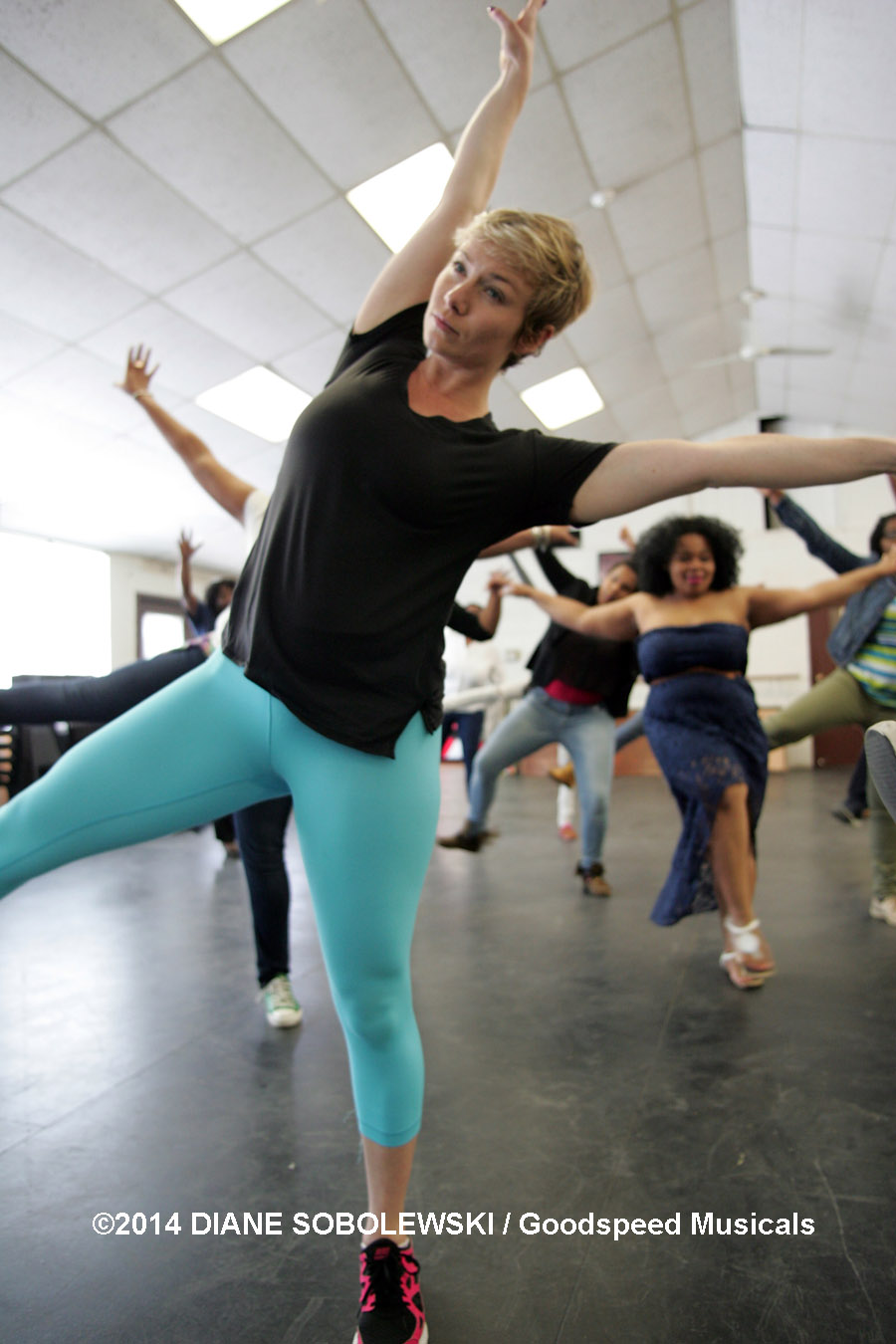 "Teaching dance to high school students through Goodspeed's ""Arts Education Collaboration"" program.  East Haddam, CT, 2014"