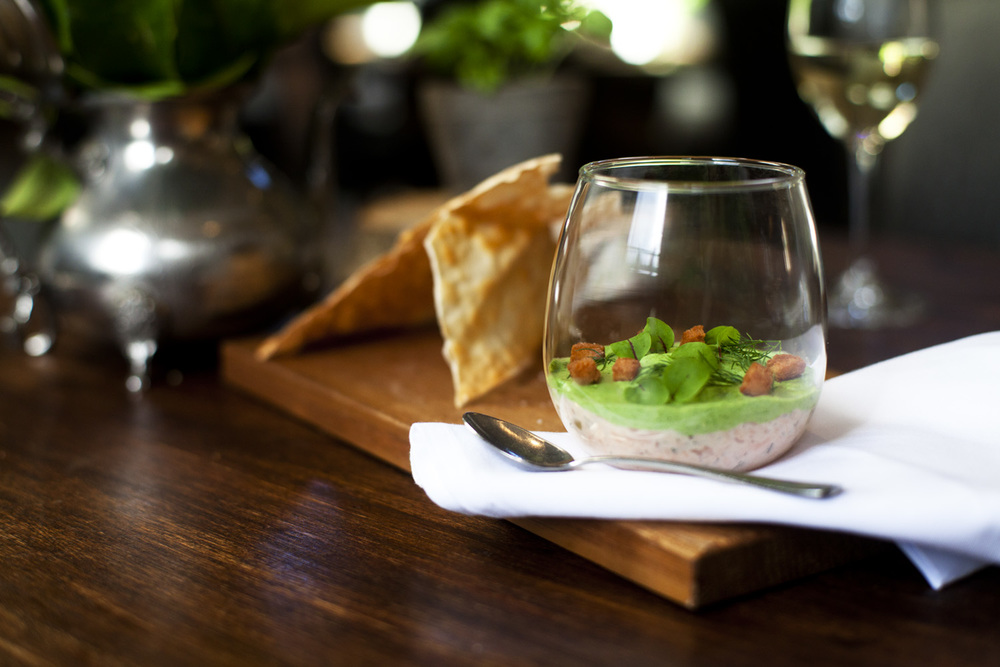Smoked Buxton trout rillette, watercress bavois.jpg