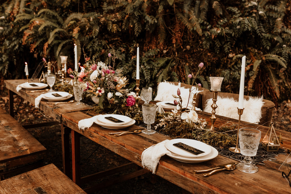 Stunning tablescape styled by  The Bespoke Bride  at the  Belknap Hot Springs Lodge and Gardens . Photography by  K. Gabrielle Photography  , Florals by  Revel Petals , lettering by Penned in the Pacific, specialty rentals by  Curated .