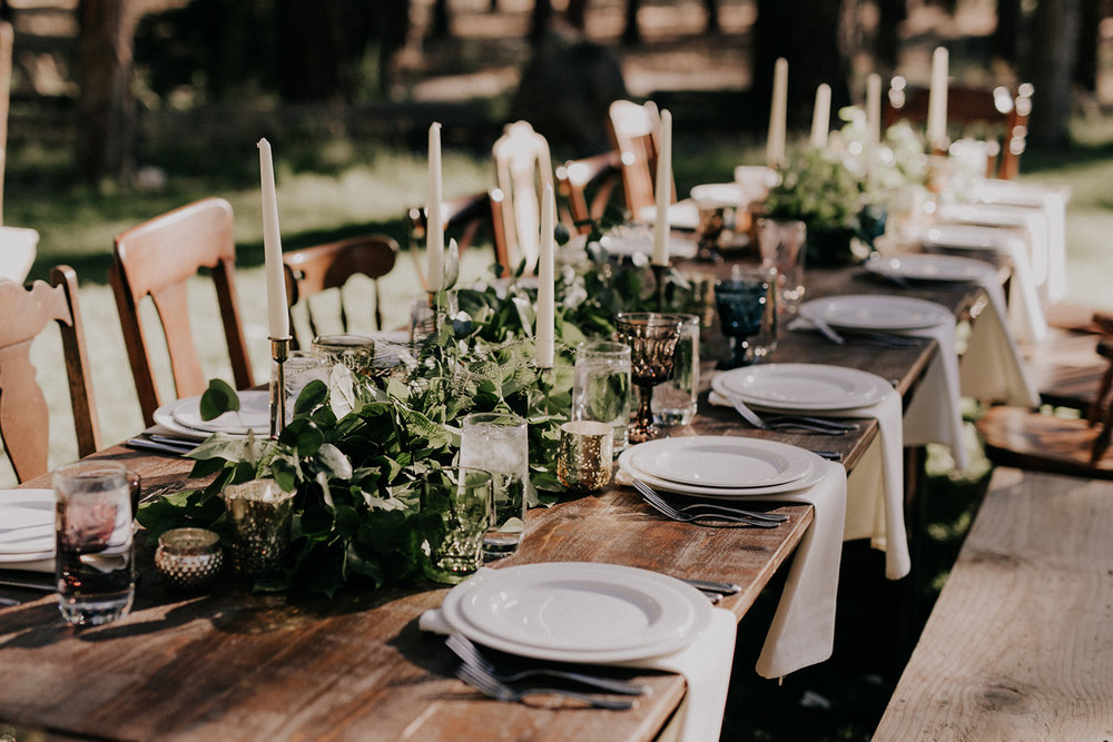 Vintage woodland romance at  Five Pines Lodge . Photo by  Christy Cassano Photography , florals by  Summer Robbins Flowers , planning by  J29 Events , specialty rentals by  Curated .