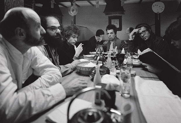 Lawrence Ferlinghetti, Allen Ginsberg, Bob Dylan and Peter and Julian Orlofsky photographed by Ettore Sottsass, San Francisco, USA 1965