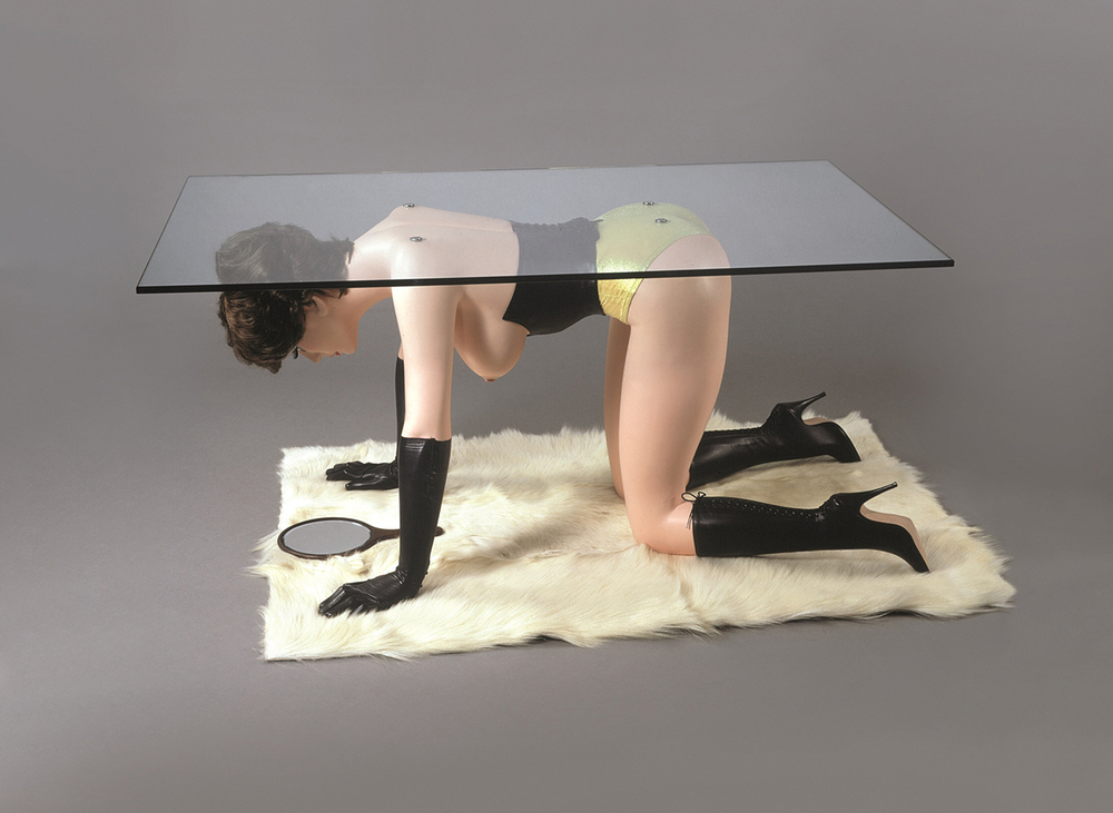 Allen Jones, Table, 1969, painted fibreglass, resin, Plexiglas, mixed media and tailor made accessories, 61 x 130 x 76 cm, private collection, courtesy the artist and Marlborough Fine Art, London