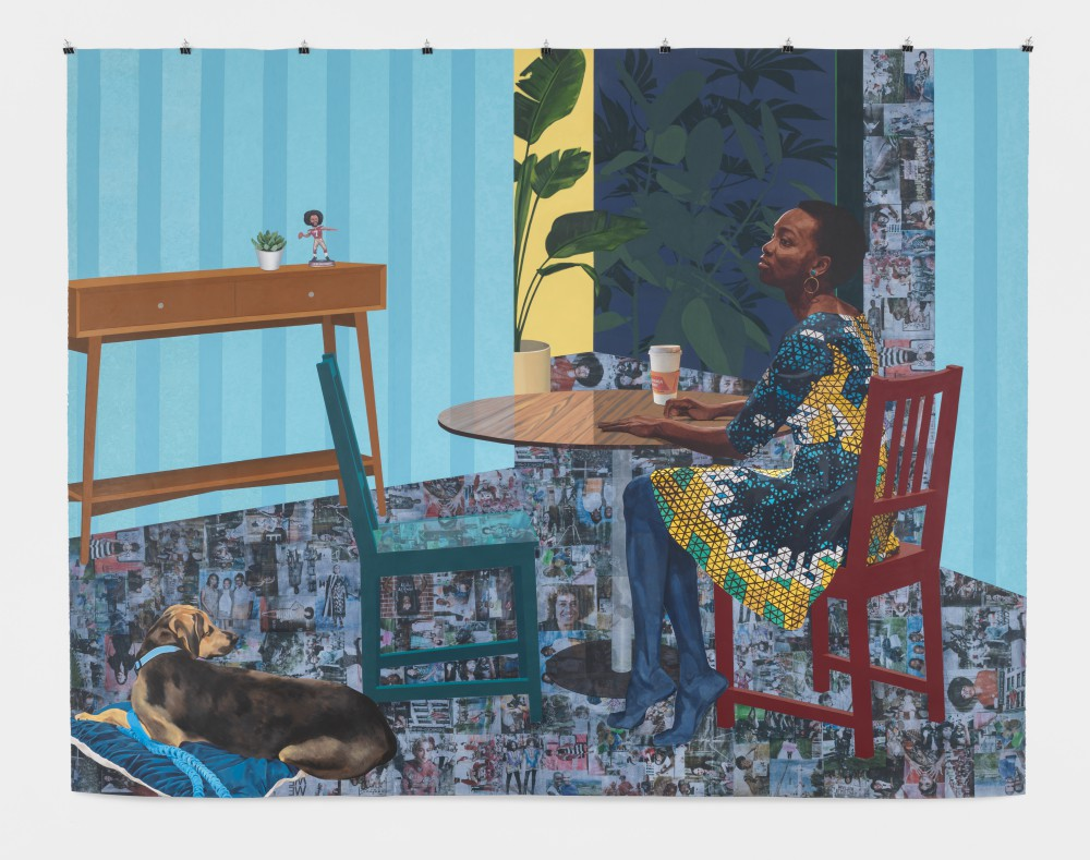 Njideka Akunyili Crosby Dwell: Me, We, 2017 Acrylic, transfers, colored pencil, charcoal, and collage on paper 96 x 124 in. Courtesy of the artist, Victoria Miro, and David Zwirner Photo: Mary Raap / EPW Studio