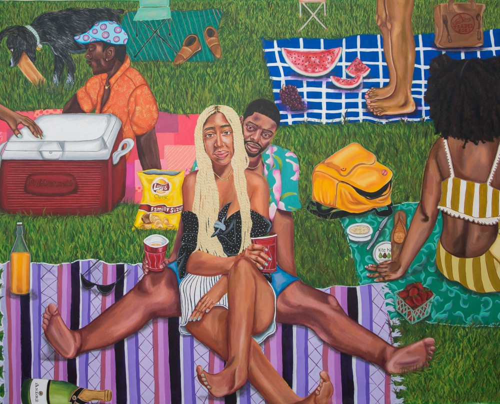 Ariel Dannielle Family Sized, 2018 Acrylic on unstretched canvas 72 x 90 in. Courtesy of the artist and TILA Studios