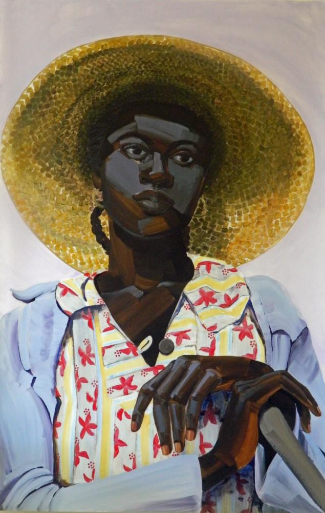 Greg Breda Untitled (Salt, woman w/ big hat), 2013 Acrylic on mylar 62 x 40 in. Courtesy the artist