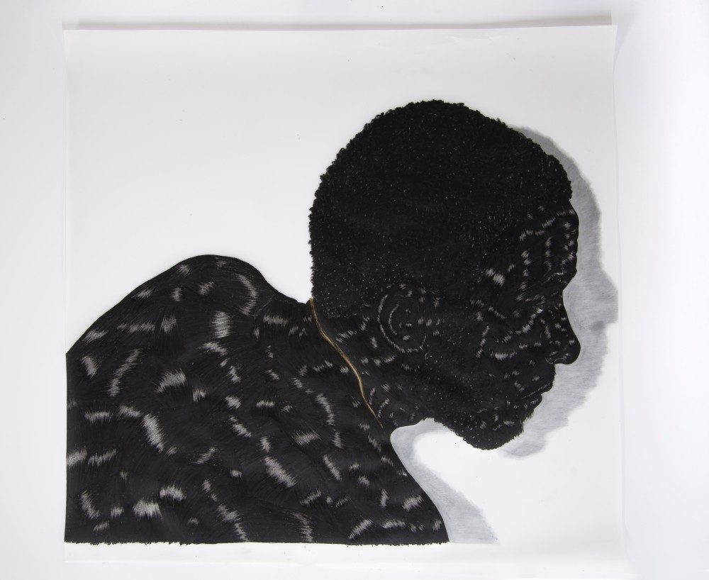 Toyin Ojih Odutola Birmingham, Study I, 2014 Charcoal and graphite on Mylar 21 x 23 in. 30 x 32 1/2 x 1 1/2 in. (framed) © Toyin Ojih Odutola. Courtesy of the artist and Jack Shainman Gallery, New York