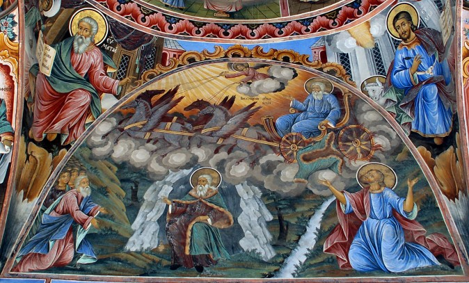 Saint Elias in the cave (below) and on a chariot of fire. A fresco from Rila Monastery, Bulgaria, medieval Orthodox tradition, renovated 20th century