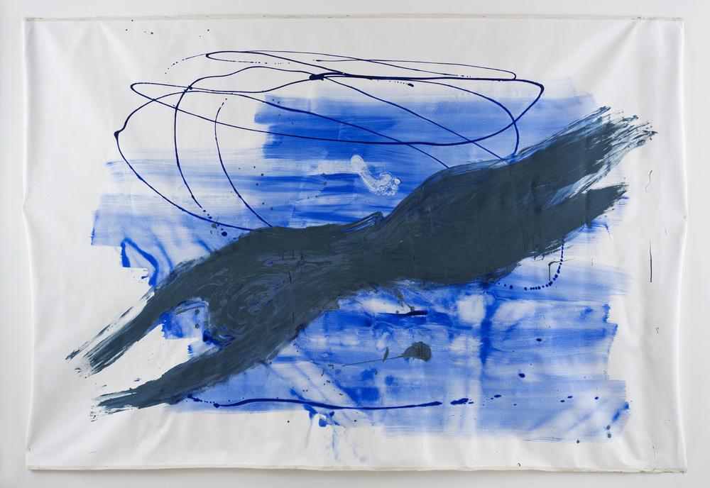 Diver, 180 x 240cm, watercolour on canvas 2015