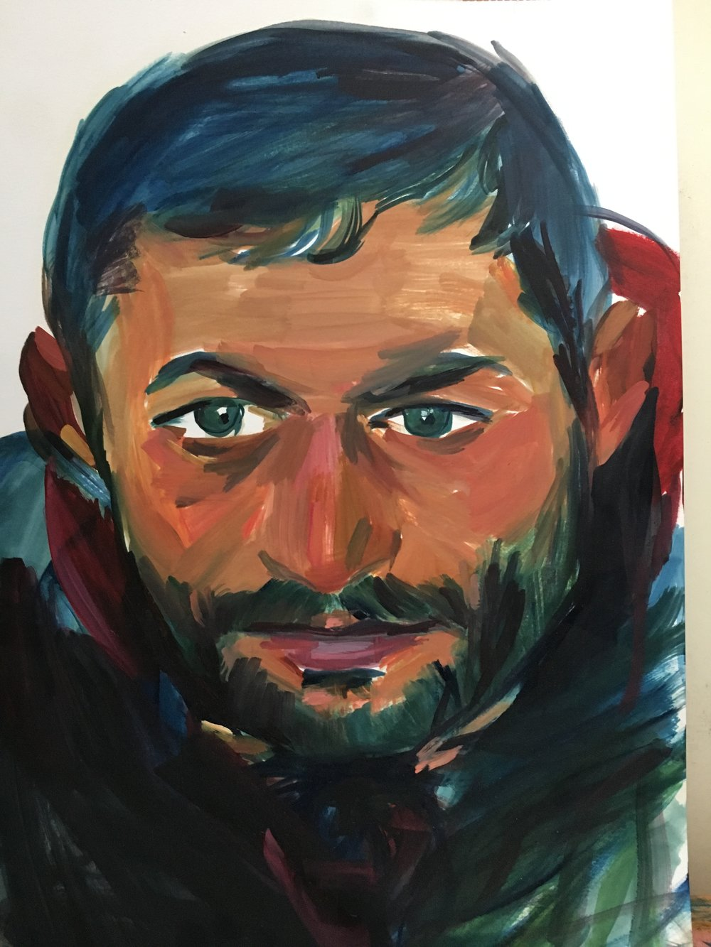 Romanian beggar 2017 oil on card 30 x 40 cm