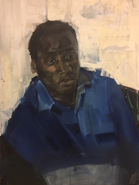 Boy in a blue shirt 1992 oil on canvas 76 x 50cm