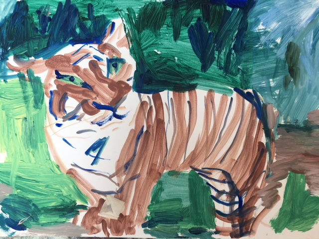 tiger 2018 oil on A4 paper