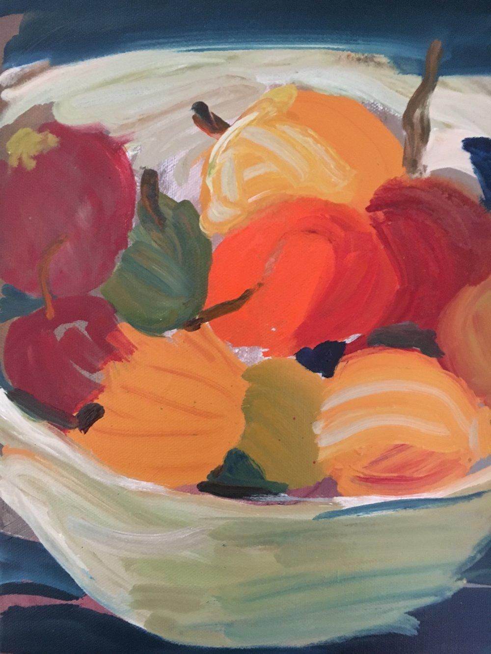 fruit 15cms x 20 cms oil on canvas 2018