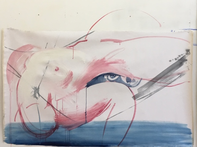 woman,  120 cms x 100 cms oil on primed canvas 2018