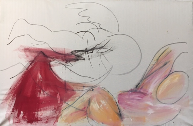 Angel, 60 x 50 cms oil on raw canvas 2018