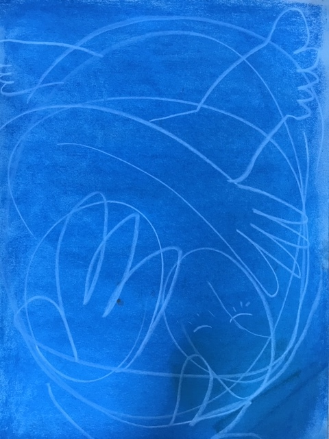 tangled up in blue, A3 pastel on paper 2018