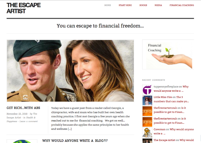 Screen shot of Life coach, health coach Georgie Muir and husband on The Escape Artist Blog