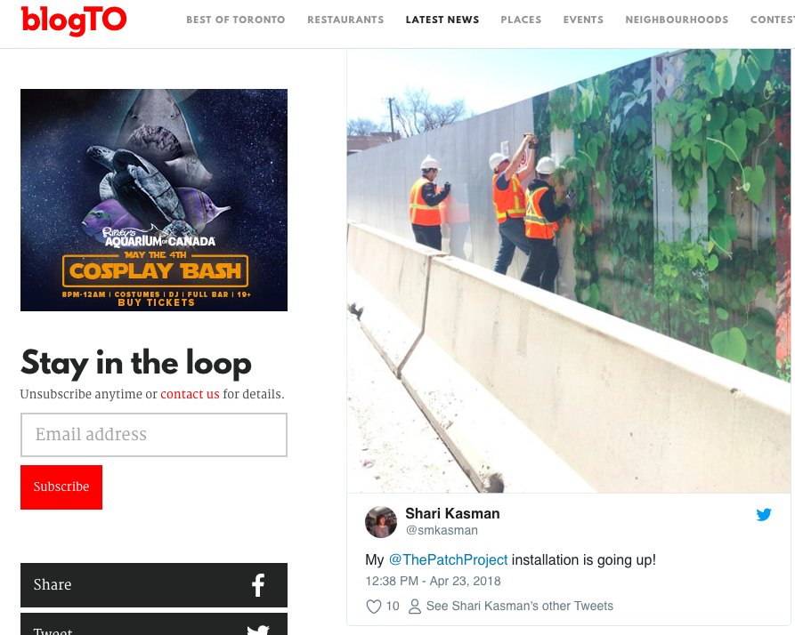 - An article in BlogTO called Toronto Construction Sites Are Getting an Artistic Makeover features my photocollage at Lillian Park