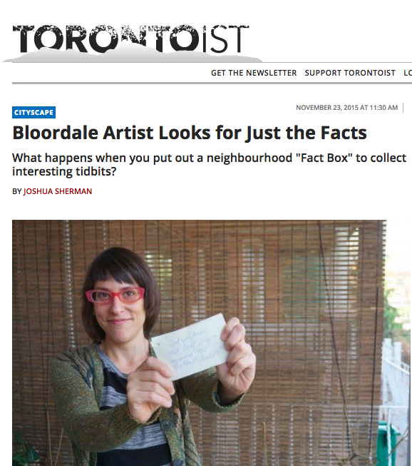 - An article in Torontoist about the Fact Box