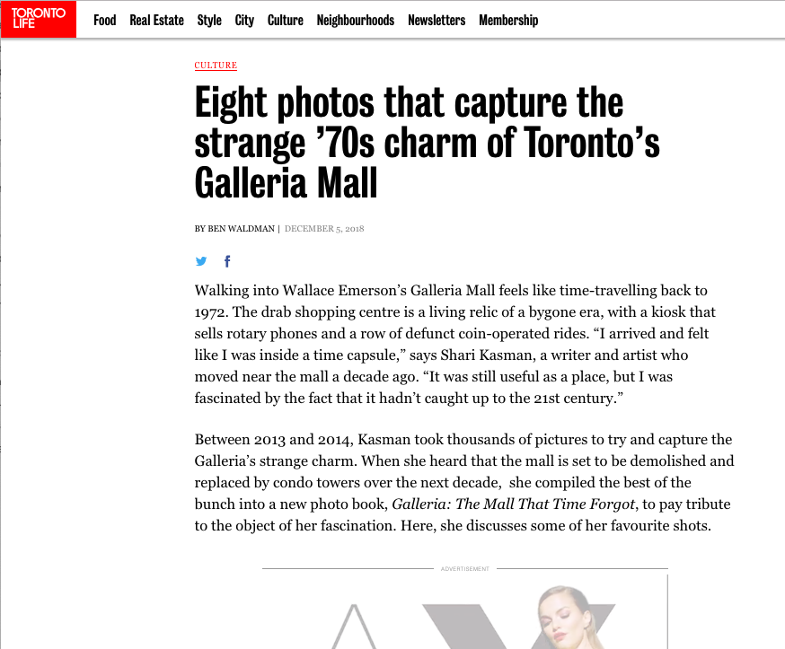 - A photo essay in Toronto Life online includes photographs from my book on Galleria Mall.