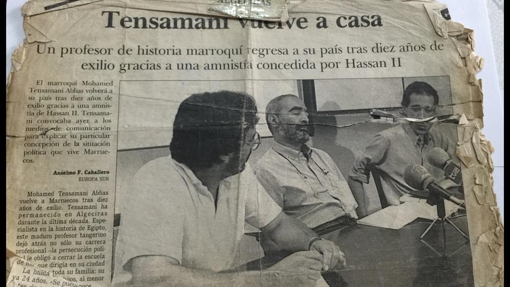 صورة لحوار جريدة إسبانية قبل عودة التمسامني الى أرض الوطن