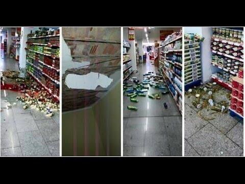 """صورة من داخل """"سوق ممتاز"""" بعد زلزال يناير 2016"""