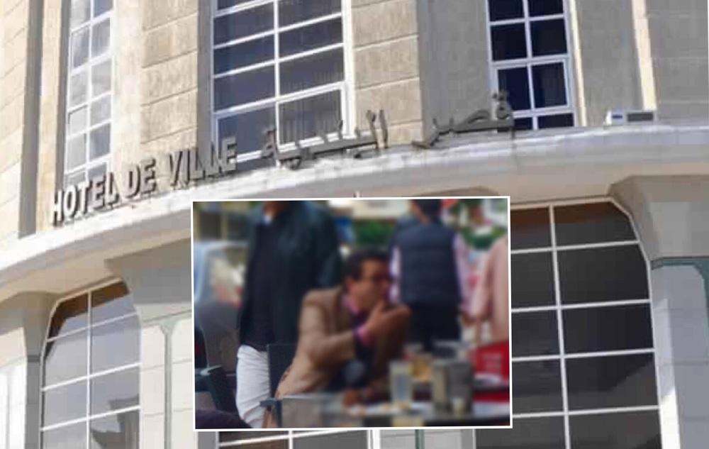 """الجماعة الحضرية وصورة للموظف """"ع"""" المشتكى به وقد تم وضع الضباب على وجهه"""