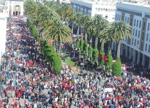 صورة للمسيرة المليونية بالعاصمة الرباط صباح الأحد 13 مارس 2016