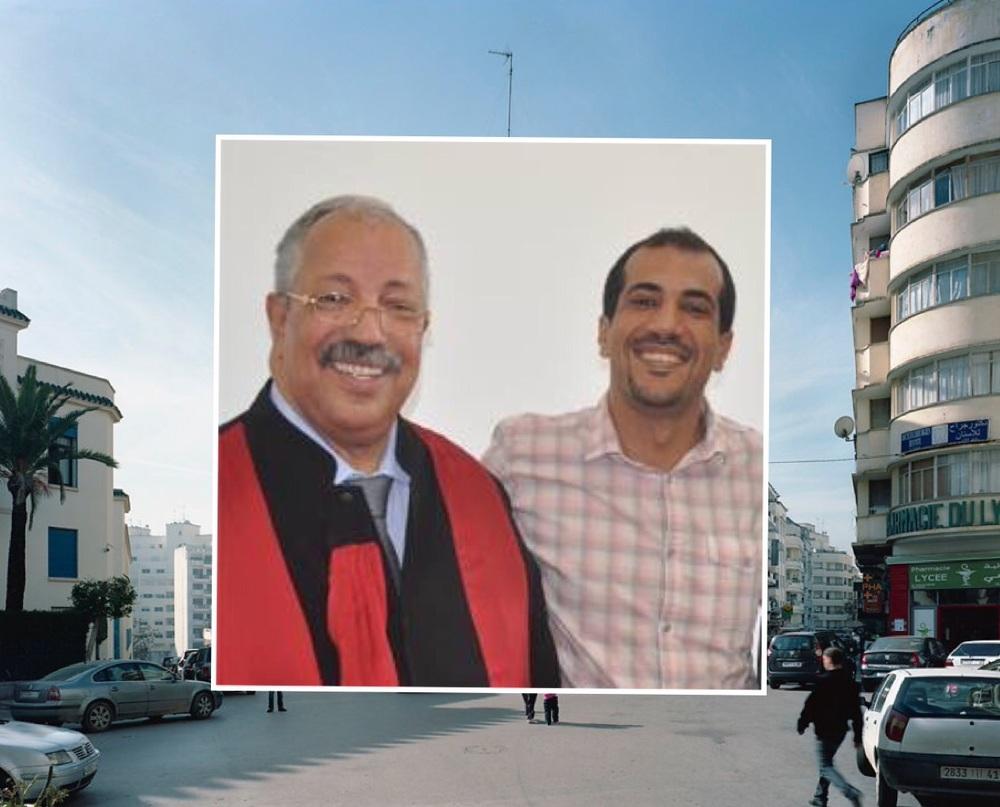 على شمال الصورة عبدالحق بخات، وعلى يمينها نجله الفتى طارق بخات