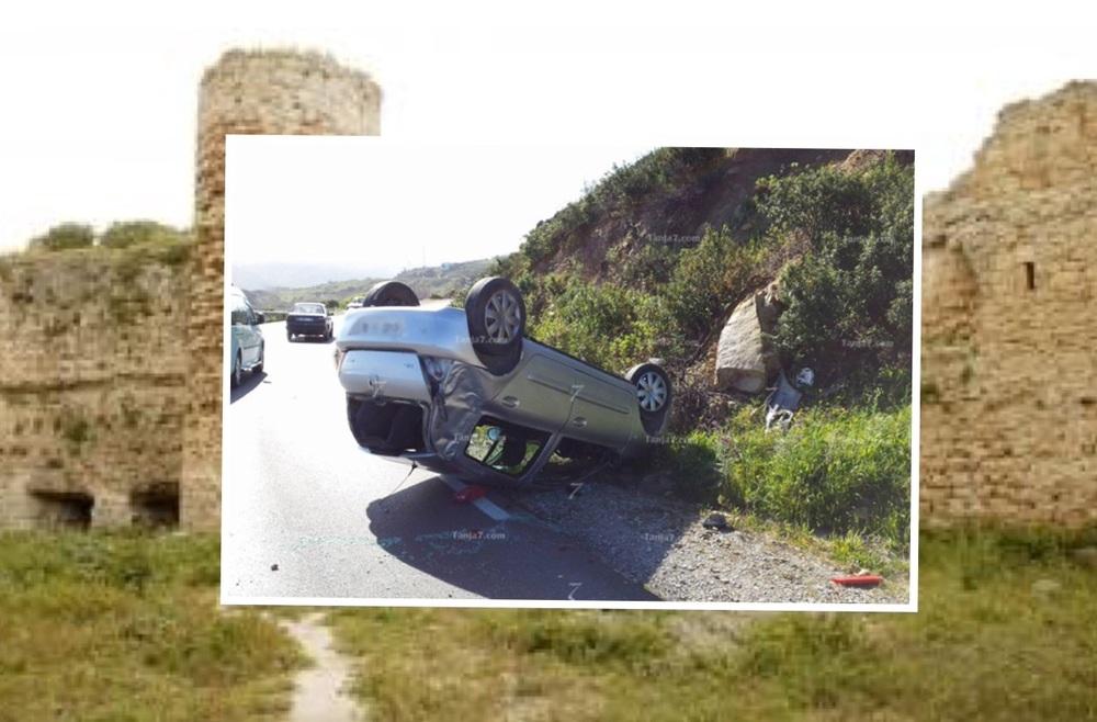 اثناء انقلاب السيارة (الصورة مأخوذة من صحيفة tanja7).