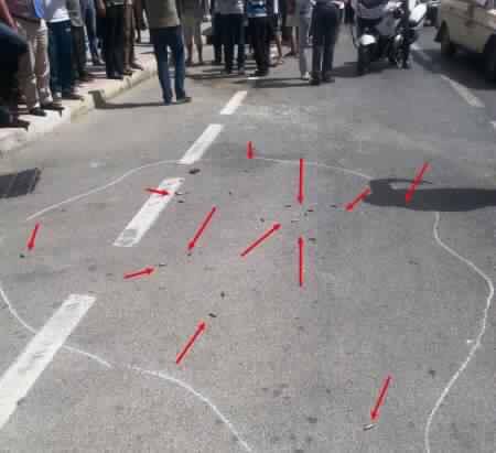 خراطيش الرصاص تم اطلاقها من سلاح رشاش