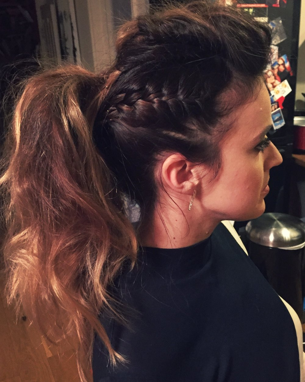 Edgy braided pony - This tousled style might not be everyone's cuppa tea, but if you do like a slightly edgier look then something like this or even a faux hawk might be worth a try.